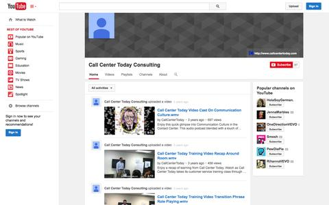 Screenshot of YouTube Page youtube.com - Call Center Today Consulting  - YouTube - captured Oct. 22, 2014