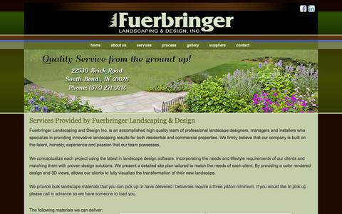 Screenshot of Services Page fuerbringerlandscaping.com - Services Provided by Fuerbringer Landscaping & Design   - Fuerbringer Landscaping - captured Oct. 6, 2014