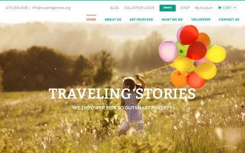 Screenshot of Home Page travelingstories.org - Traveling Stories |Transforming Reluctant Readers Into Confident Ones - captured Oct. 20, 2018