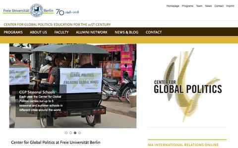 Screenshot of Home Page global-politics.org - Center for Global Politics: Homepage - captured Oct. 25, 2018