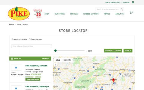 Screenshot of Locations Page pikenursery.com - Store Locator - captured Sept. 28, 2018