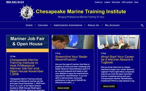 Screenshot of Press Page chesapeakemarineinst.com - News – Chesapeake Marine Training Institute - captured Sept. 27, 2018