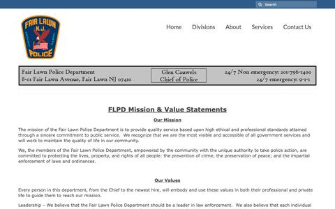 Screenshot of About Page fairlawnpd.com - About – Fair Lawn Police Department - captured Oct. 10, 2018