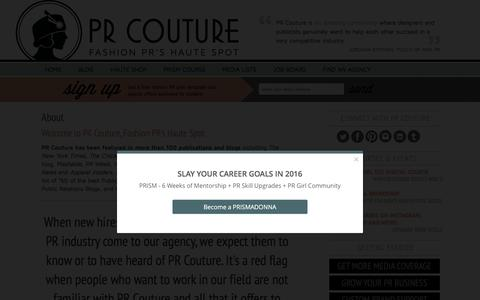 Screenshot of About Page prcouture.com - Fashion PR Blog PR Couture - captured Oct. 26, 2015