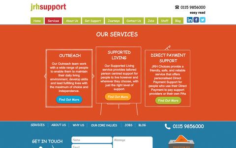 Screenshot of Services Page jrhsupport.co.uk - JRH Support - Our Supported Living and Outreach Services in Nottingham - captured May 27, 2017