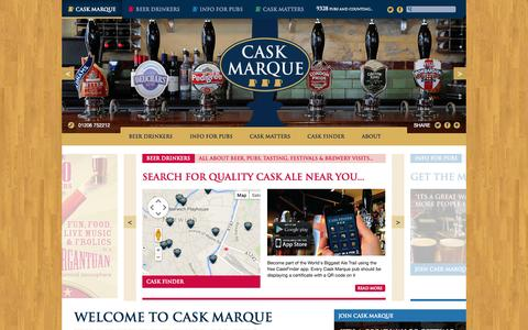 Screenshot of Home Page cask-marque.co.uk - Accreditation & Training for Real Cask Ale Pubs - Cask Marque - captured Jan. 18, 2015