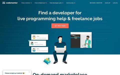 Screenshot of Home Page codementor.io - Codementor | Get live 1:1 coding help, hire a developer, & more - captured June 15, 2018