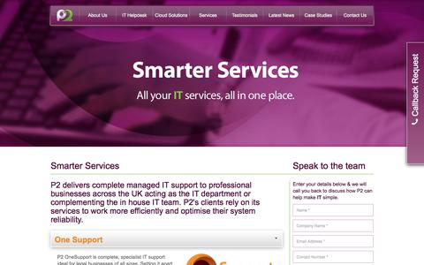 Screenshot of Services Page p2tech.co.uk - Smarter It Support Services for Business | P2 Technologies Huddersfield, Yorkshire and the North West | P2 Technologies - captured Sept. 24, 2018