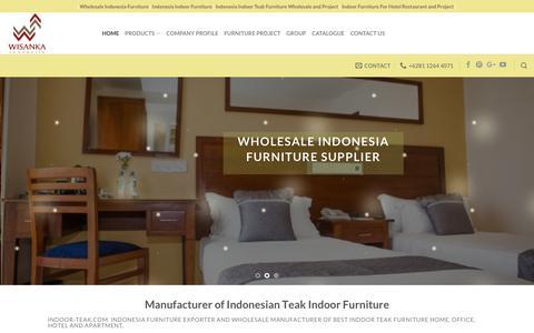 Screenshot of Home Page indoor-teak.com - Indoor Teak Furniture | Indonesian Teak Furniture Wholesale Manufacturer - captured Sept. 27, 2018