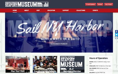 Screenshot of Home Page southstreetseaportmuseum.org - South Street Seaport Museum:  We Preserve | We Sail | We Teach. - captured Sept. 23, 2014
