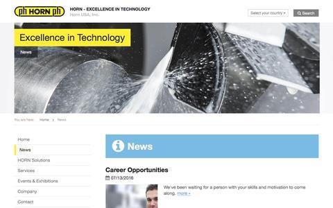 Screenshot of Press Page hornusa.com - News » Horn USA, Inc. - EXCELLENCE IN TECHNOLOGY - captured July 22, 2018
