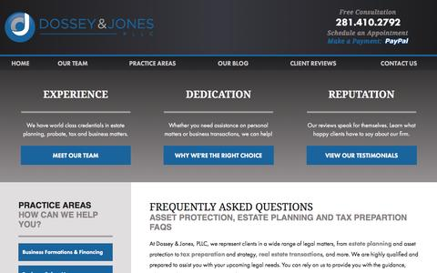 Screenshot of FAQ Page dossey.com - Dossey & Jones Law Firm | FAQ - captured Feb. 9, 2016
