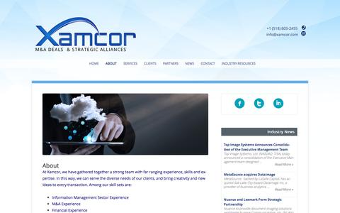 Screenshot of About Page xamcor.com - About - Xamcor, Inc. - captured June 18, 2017