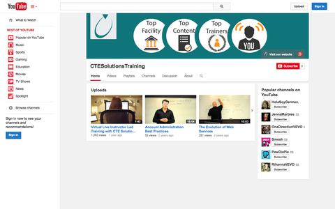 Screenshot of YouTube Page youtube.com - CTESolutionsTraining  - YouTube - captured Oct. 22, 2014