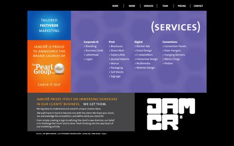 Screenshot of Services Page jamcr8.com - SERVICES - captured May 26, 2017