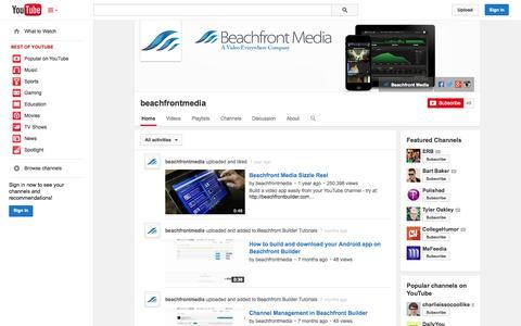 Screenshot of YouTube Page youtube.com - beachfrontmedia  - YouTube - captured Oct. 23, 2014