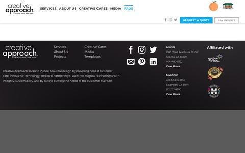 Screenshot of FAQ Page mycreativeapproach.com - FAQs | Creative Approach Print & Design - captured Sept. 12, 2019