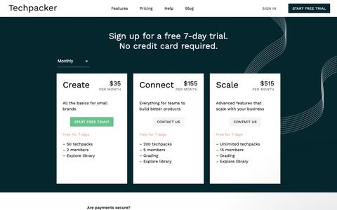 Screenshot of Pricing Page techpacker.com - Lucy says… - captured Jan. 9, 2019