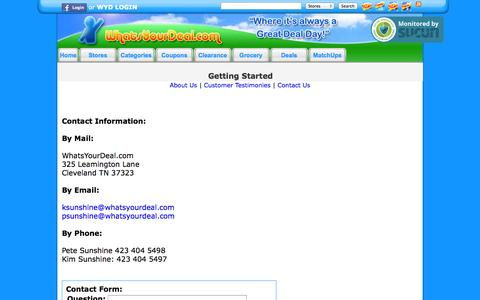 Screenshot of Contact Page whatsyourdeal.com - Contact Information - Contact Whatsyourdeal.com - captured Sept. 23, 2014