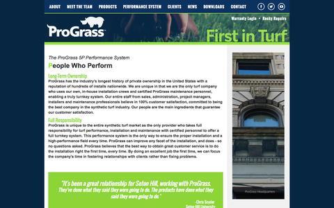 Screenshot of Team Page prograssturf.com - ProGrass: 5P Performance System Artificial Turf - People - captured Oct. 3, 2014