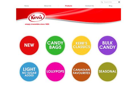 Screenshot of Products Page kerrs.com - Kerr's Candy   Products - captured Nov. 27, 2016