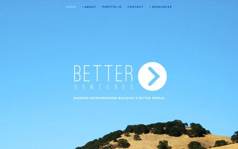 Screenshot of Home Page better.vc - Better Ventures - captured Sept. 19, 2014