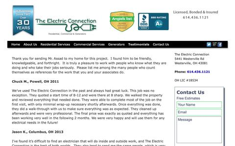 Screenshot of Testimonials Page theelectricconnect.com - The Electric Connection Columbus, Ohio Testimonials - captured Oct. 20, 2018