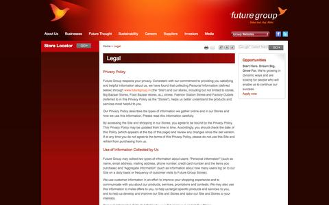 Screenshot of Terms Page futuregroup.in - Legal | Future Group - captured Nov. 4, 2014