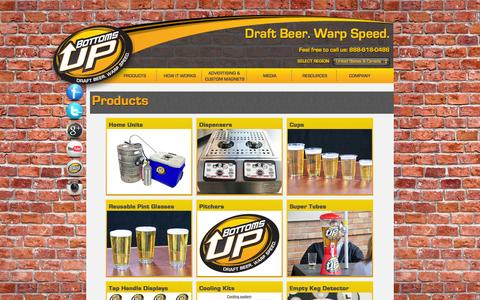 Screenshot of Products Page bottomsupbeer.com - Bottoms Up Beer -Products - captured Sept. 19, 2014