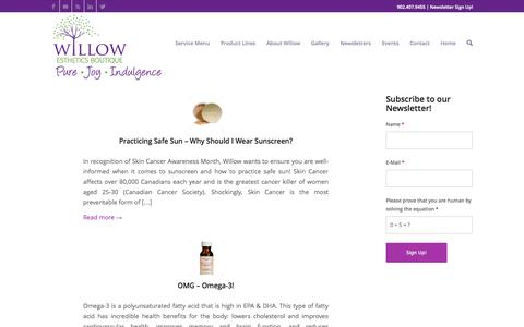Screenshot of Blog willowesthetics.ca - Willow Esthetics Boutique | Halifax | Facials | Manicures | Pedicures - captured Oct. 26, 2014