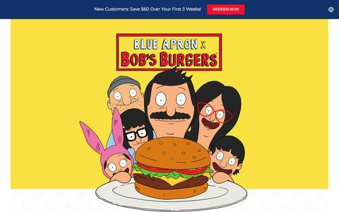 Screenshot of Landing Page blueapron.com - Blue Apron x Bob's Burgers - $60 Off - captured Sept. 22, 2018
