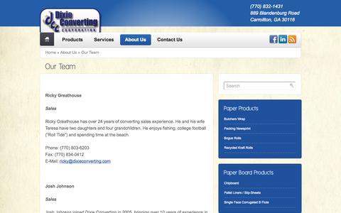Screenshot of Team Page dixieconverting.com - Dixie Converting - captured Sept. 30, 2014