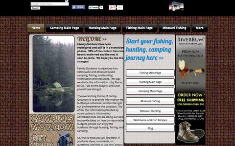 Screenshot of Home Page family-outdoors.com - Family-Outdoors Fishing, Hunting, Camping - captured June 17, 2015