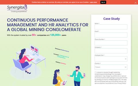 Screenshot of Landing Page synergita.com - CONTINUOUS PERFORMANCE MANAGEMENT AND HR ANALYTICS FOR A  GLOBAL MINING CONGLOMERATE - captured Sept. 21, 2018