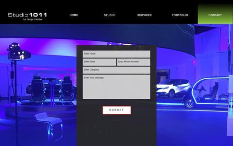 Screenshot of Contact Page studio1011.com - Contact Studio1011 for full range creative services. - captured Oct. 20, 2018