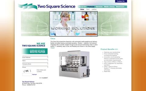 Screenshot of Products Page twosquarescience.com - Two Square Science – Working Solutions - Cetus - captured Feb. 22, 2016