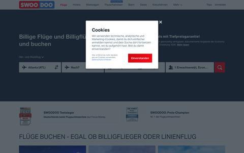 Screenshot of Home Page swoodoo.com - Flüge günstig buchen | Billigflüge | Flugtickets | SWOODOO - captured July 14, 2019