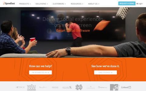 Screenshot of Home Page spredfast.com - Social Media Experience Management Software Platform | Spredfast - captured Nov. 10, 2015