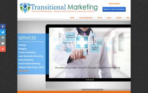 Screenshot of Home Page transitionalmarketing.com - Inbound Marketing: Transitional Marketing - captured July 7, 2018