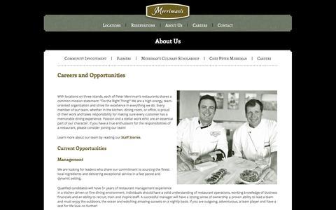 Screenshot of Jobs Page merrimanshawaii.com - Careers - Merriman's Hawaii Restaurant - captured Oct. 27, 2014