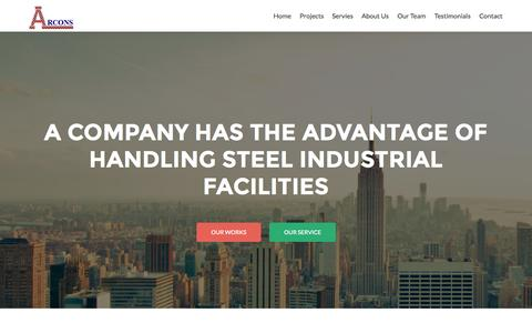 Screenshot of Home Page arconsegypt.com - ARCONS | Egypt-based ARCONS carries out the fabrication, installation and construction of steel structures, including tanks, piping, pressure vessels, and components for industrial plants and bridges. - captured Jan. 23, 2015