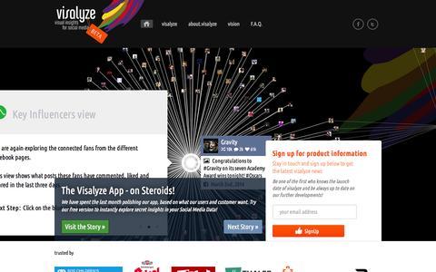 Screenshot of Home Page visalyze.com - visalyze - visual insights for social media - captured Oct. 9, 2014