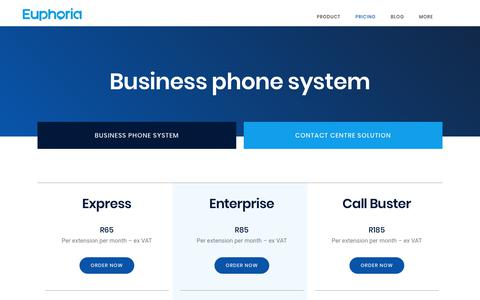 Screenshot of Pricing Page euphoria.co.za - Cloud PBX Pricing | Telephone Systems for Businesses - captured July 19, 2019