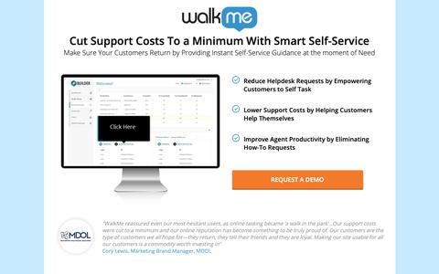 Screenshot of Landing Page walkme.com - Cut Support Costs To a Minimum With Smart Self-Service - WalkMe™ - Digital Adoption Platform - captured Sept. 27, 2018
