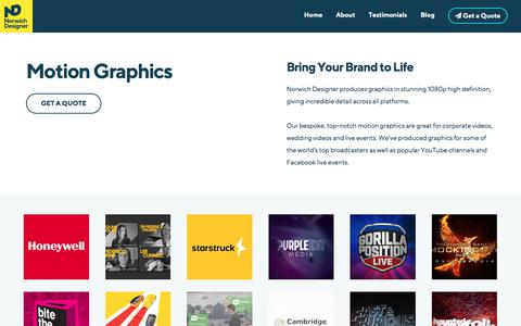 Screenshot of norwichdesigner.co.uk - Motion Graphics - Graphic Design and Printing - Norwich Designer - captured Jan. 25, 2018