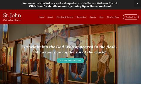 Screenshot of Home Page theforerunner.org - St. John Orthodox Church - captured Oct. 31, 2018