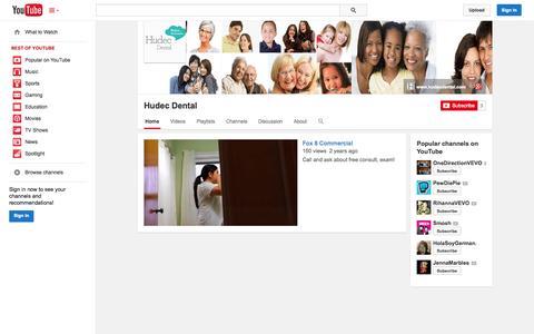 Screenshot of YouTube Page youtube.com - Hudec Dental  - YouTube - captured Oct. 23, 2014