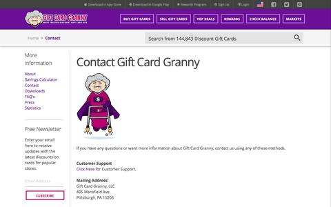 Screenshot of Contact Page giftcardgranny.com - Contact Gift Card Granny - captured Aug. 23, 2016