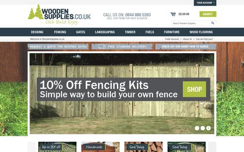 Screenshot of Home Page woodensupplies.co.uk - Wooden Supplies | Gates, Fencing, Decking, Garden Landscaping & More - captured Jan. 11, 2016