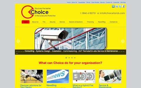 Screenshot of Home Page choicefireandsecurity.co.uk - Home - Choice Fire & Security Solutions - Choice Fire & Security Solutions - captured July 20, 2015